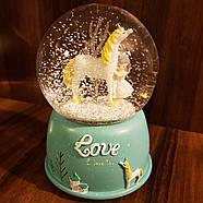 Снігова куля c автоснегом і підсвічуванням Love unicorn №1, фото 9