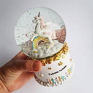 """Снежный шар """"Единорог и радуга"""" с автоснегом и подсветкой, фото 3"""
