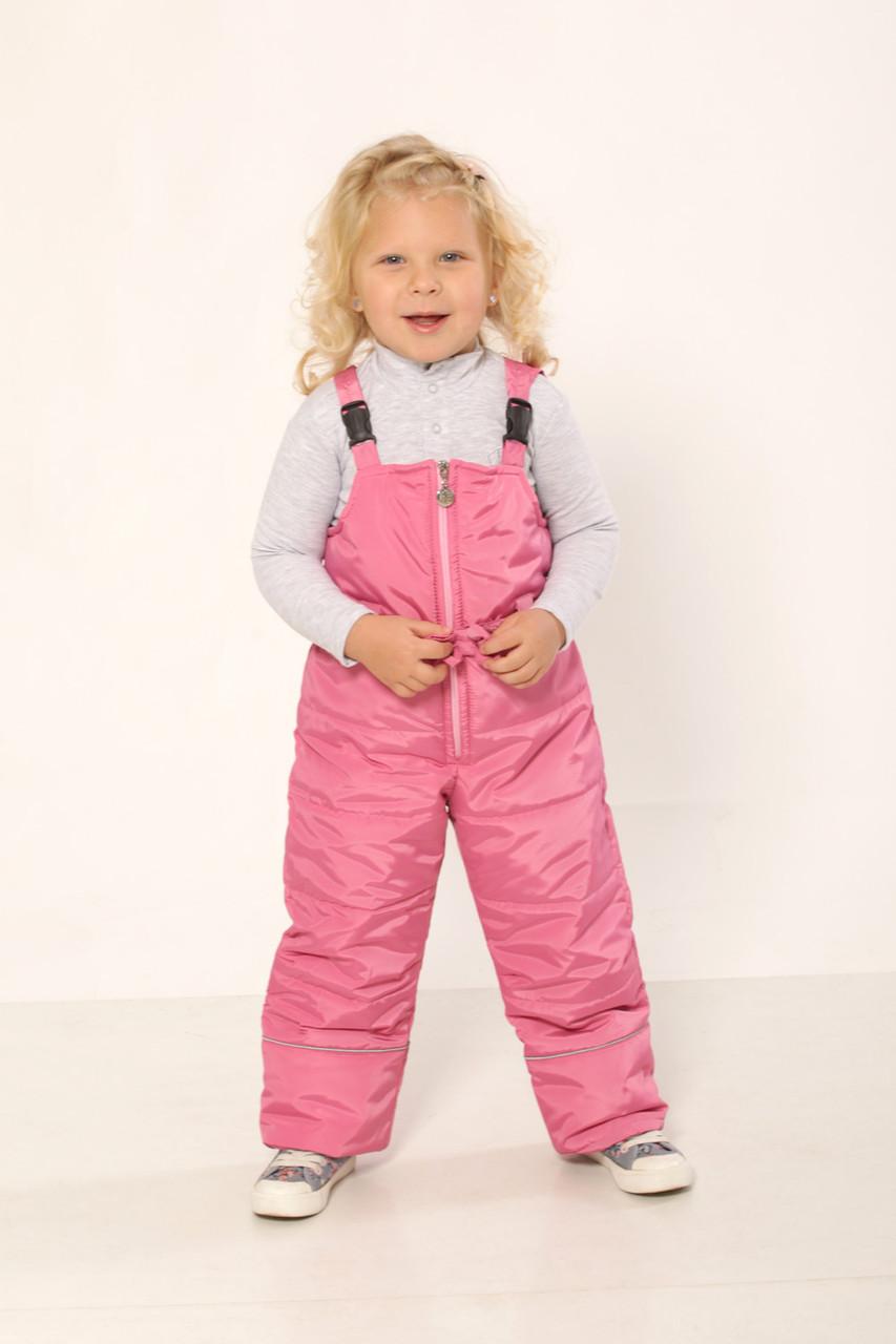 Детский зимний полукомбинезон для девочки (розовый)