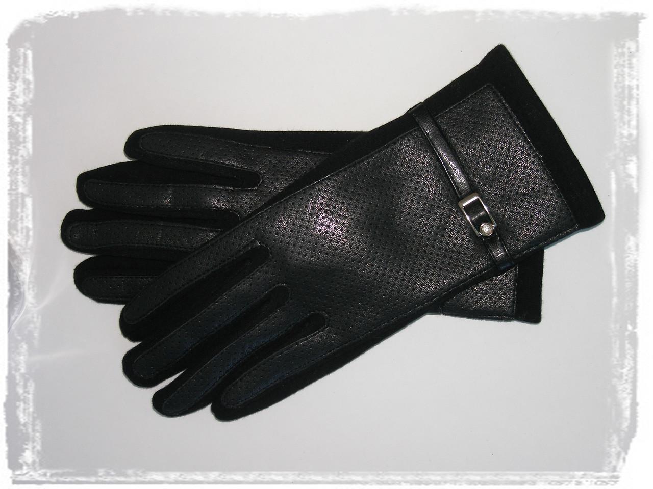 Перчатки Женские Сенсорные Черные Трикотажные Кожа р 7