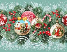 """Новогодняя  скатерть- дорожка праздничная скатерть на стол """"Новогодние игрушки"""" 150 * 50 см, Рогожка 226 г/м2,"""