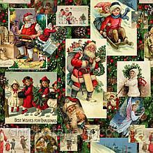 Декоративная новогодняя ткань с Рождественскими открытками на фоне ели для скатерти Испания