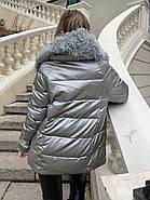 Короткий пуховик с мехом  ZLLY 20439-19, фото 3