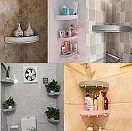 Полка для ванной комнаты угловая серая Mensola grigia, фото 4
