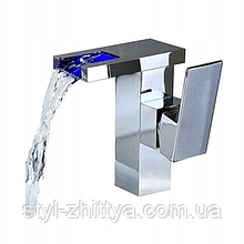 Змішувач на раковину низький HUGO LED / Хром