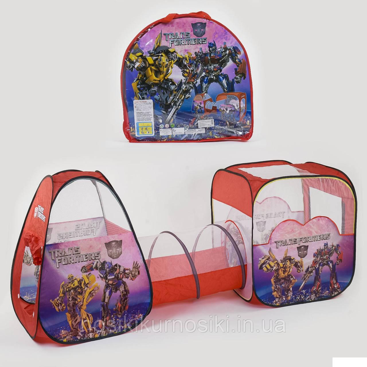 Палатка детская игровая с тоннелем 8015 Трансформеры, размер 270-92-92 см, в сумке