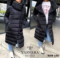 Зимняя куртка-пуховик женская синтепоновая длинная. Размер: 42-44, 44-46. Цвета: чёрный, красный, бежевый.