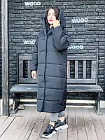 Зимняя теплая длинная  куртка пальто пуховик оверсайз одеяло с капюшоном плащевка + силикон капучіно, 58-60