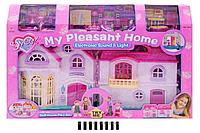 Домик для кукол 16428 батар, муз_свет, фигурки семьи, мебель, в кор.74,5*12,5*50см