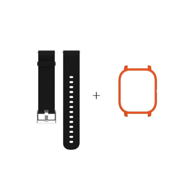 Amazfit GTS Комплект для смарт годин (ремінець і бампер), Black-Red