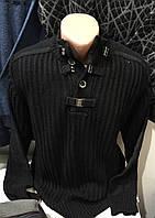 Тёплые турецкие мужские свитера чёрного цвета на пуговицах и застежках