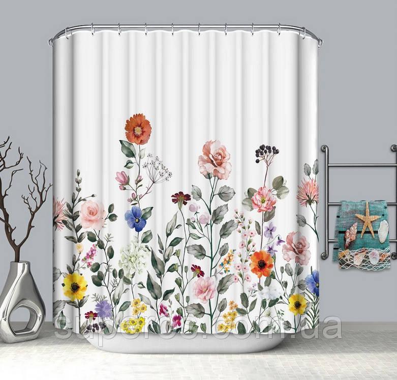 Тканевая шторка для ванной и душа 180х200 см Полевые цветы