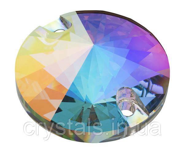 Пришивные риволи хрустальные Preciosa (Чехия) 10 мм Crystal AB 2-й сорт