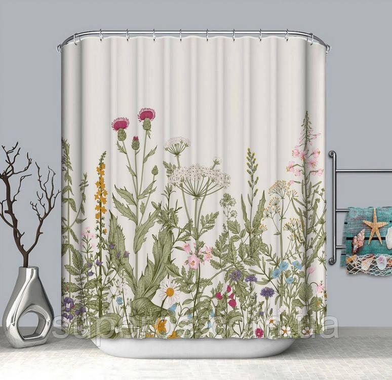Тканевая шторка для ванной и душа 180х200 см Полевые цветы бежевая