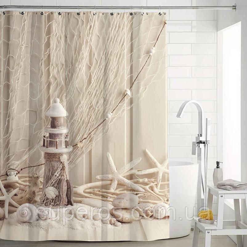 Тканевая шторка для ванной и душа 180х200 см Маяк