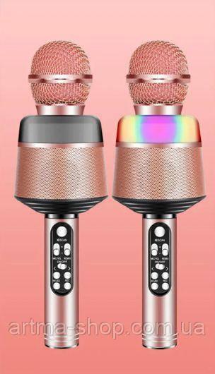 Беспроводной караоке микрофон TUXAN Q-008 Розовый, светомузыка, мощность 15 Ватт, Оригинал