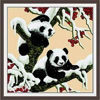 """Вышивка крестиком по номерам """"Снежные панды"""", Идейка, вязаные,набор для плетения,детские наборы творчества"""