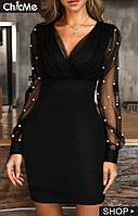 Нарядное женское платье мини с рукавами сетка в горошек