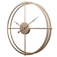 Часы настенные металлические большие в стиле лофт золотистые (60 см), [Металл]
