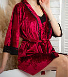 Жіноча піжама: халат, майка і шорти, фото 5