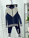 Женский брендовый вязаный костюм с логотипами, в синем цвете, р.42/46, фото 5