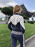 Женский брендовый вязаный костюм с логотипами, в синем цвете, р.42/46, фото 8
