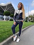 Женский брендовый вязаный костюм с логотипами, в синем цвете, р.42/46, фото 2
