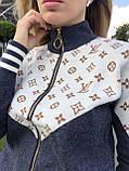 Женский брендовый вязаный костюм с логотипами, в синем цвете, р.42/46, фото 9