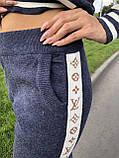 Женский брендовый вязаный костюм с логотипами, в синем цвете, р.42/46, фото 10