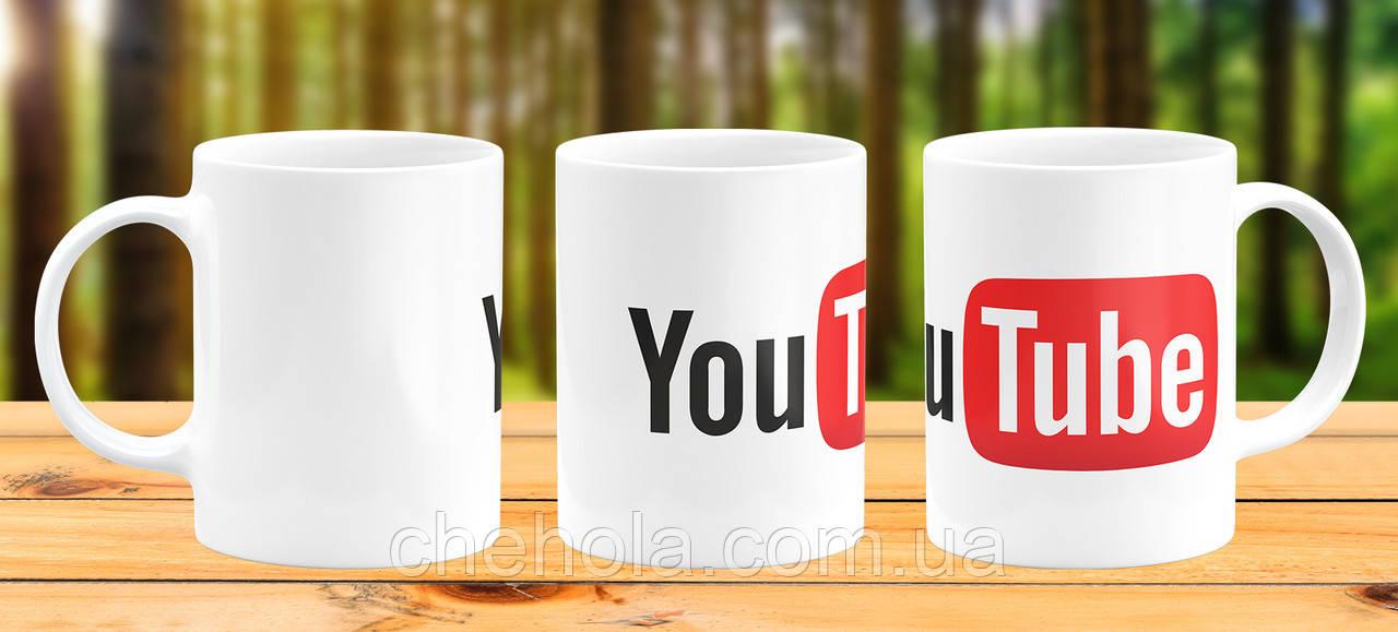 Оригінальна гуртка з принтом Youtube Прикольна чашка подарунок