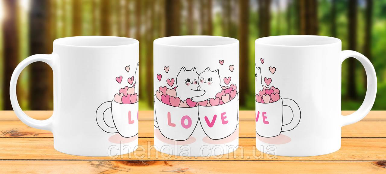 Оригинальная кружка с принтом Кот Love Прикольная чашка подарок 14 февраля 8 марта