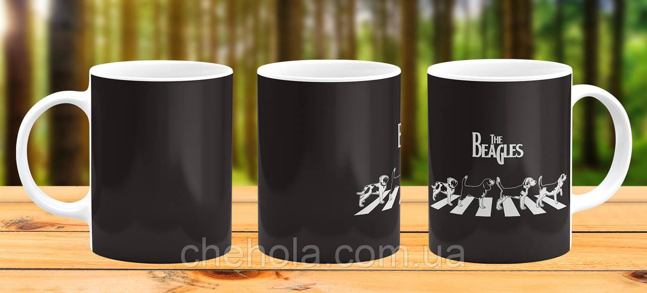 Оригінальна гуртка з принтом Собака Бігль Прикольна чашка подарунок Подрузі другові