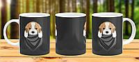 Оригинальная кружка с принтом Собака Бигль Прикольная чашка подарок другу Подруге