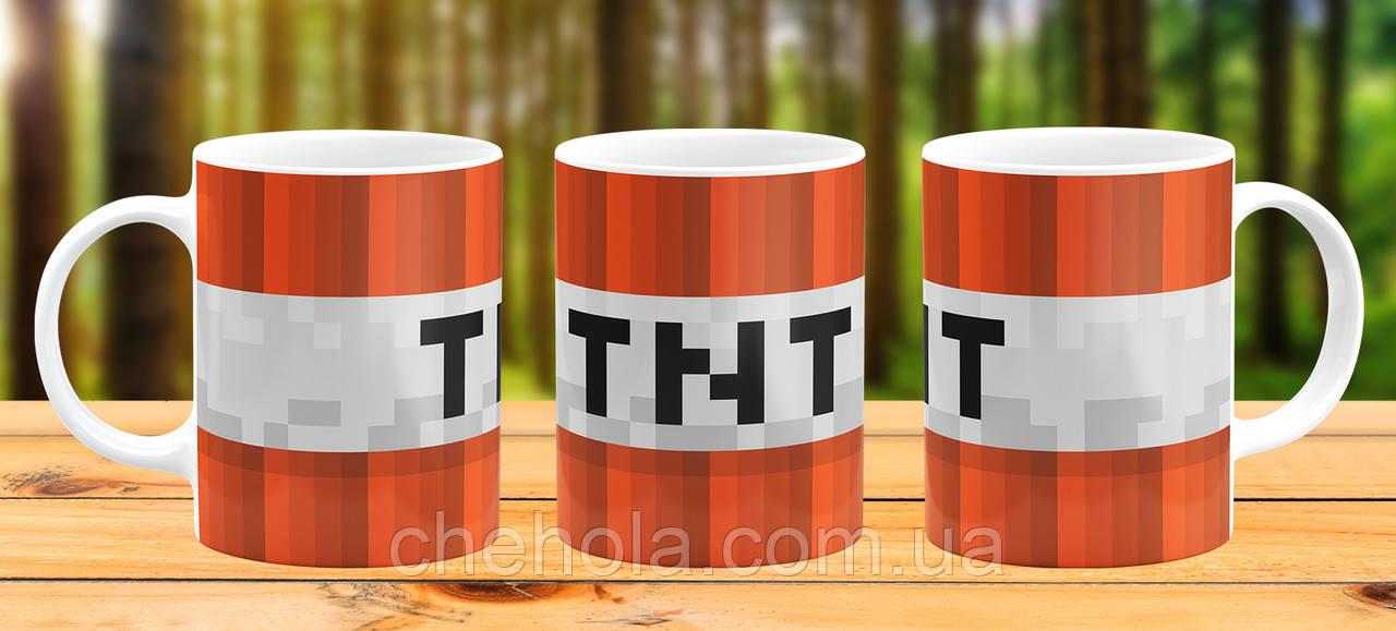 Оригинальная кружка с принтом Minecraft майнкрафт TNT Прикольная чашка подарок Ребенку