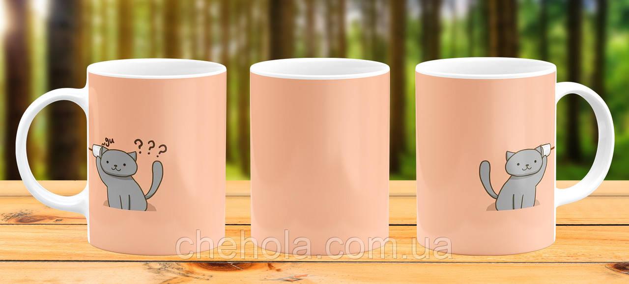 Оригинальная кружка с принтом Парные котики Прикольная чашка подарок Парню девушке