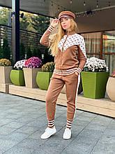 Женский брендовый вязаный костюм с логотипами, в горчичном цвете, р.42/46