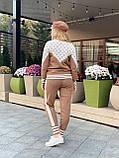 Женский брендовый вязаный костюм с логотипами, в горчичном цвете, р.42/46, фото 3