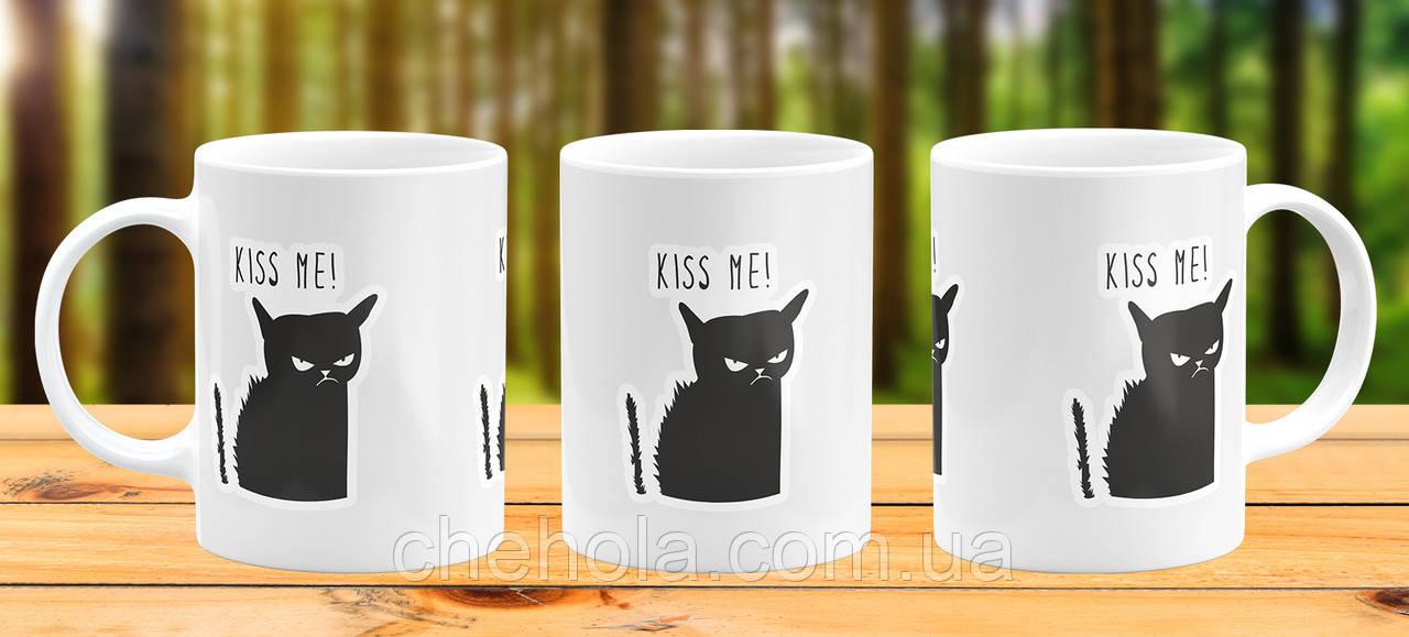 Оригінальна гуртка з принтом Чорний кіт Прикольна чашка подарунок 14 лютого 8 березня