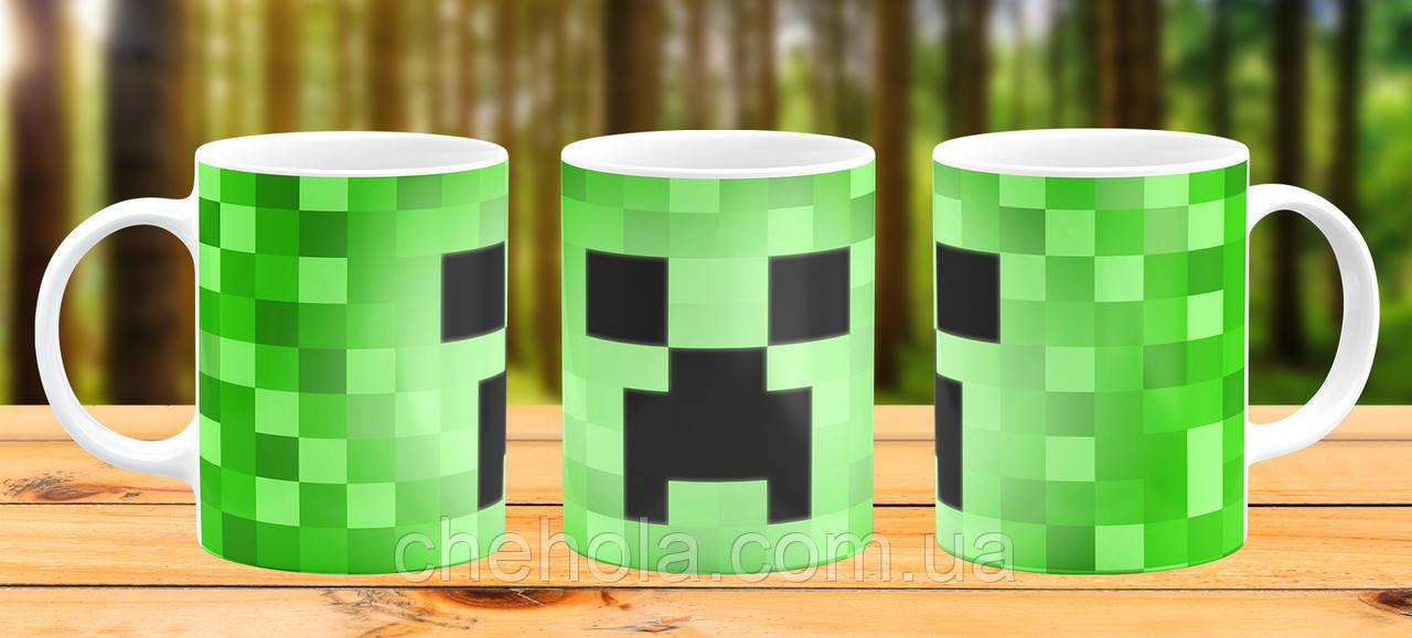 Оригинальная кружка с принтом Minecraft майнкрафт Крипер Прикольная чашка подарок Сыну дочке