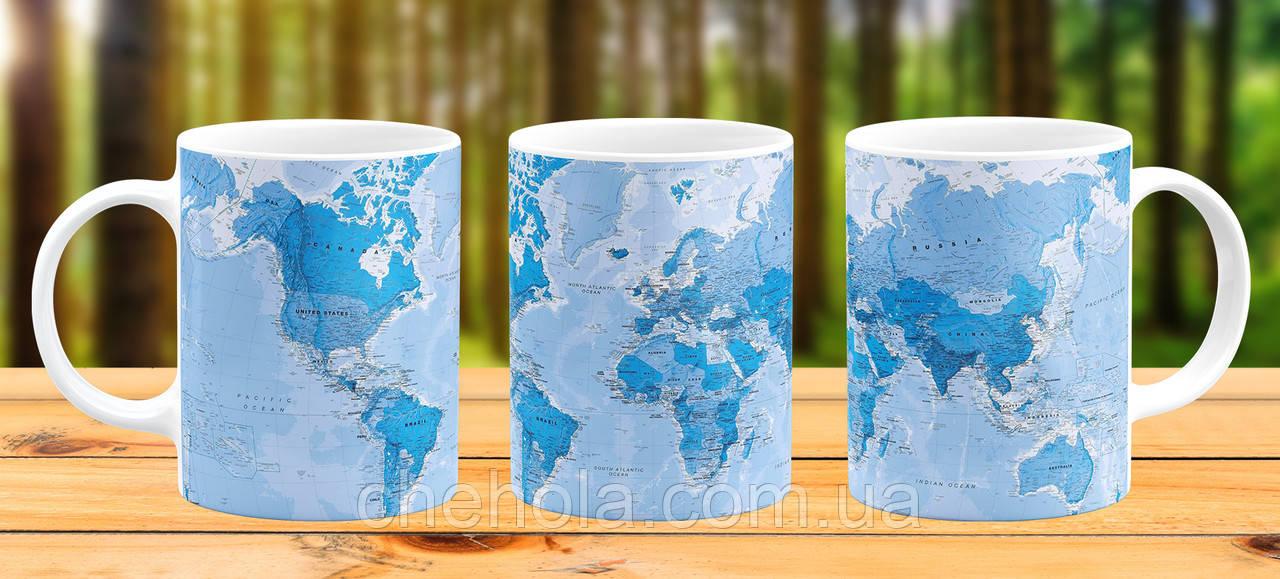 Оригінальна гуртка з принтом Карта світу Прикольна чашка подарунок мандрівникові