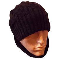 Вязаная мужская шапка - носок коричневого цвета