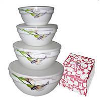 Набор ёмкостей (судков) для хранения пищевых продуктов, стеклокерамика (180; 300; 640; 1100 мл.)