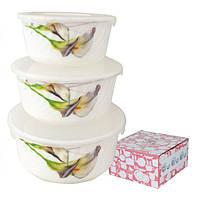 Емкости для хранения пищевых продуктов, набор 3 шт., стеклокерамика (550; 900; 1400 мл.)