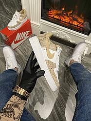 Женские кроссовки Nike Air Force 1 Low (Premium-class) бежевые