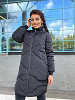 Женская удлиненная куртка-пальто батал,теплая куртка,стеганная зимняя курточка большие размеры,стеганое пальто
