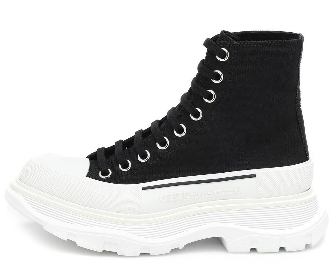 Женские демисезонные ботинки Alexander McQueen Tread Slick (Premium-class) черно-белые