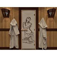 Стеклянные двери для сауны и бани Pal 70x190 (с цветной фотопечатью)