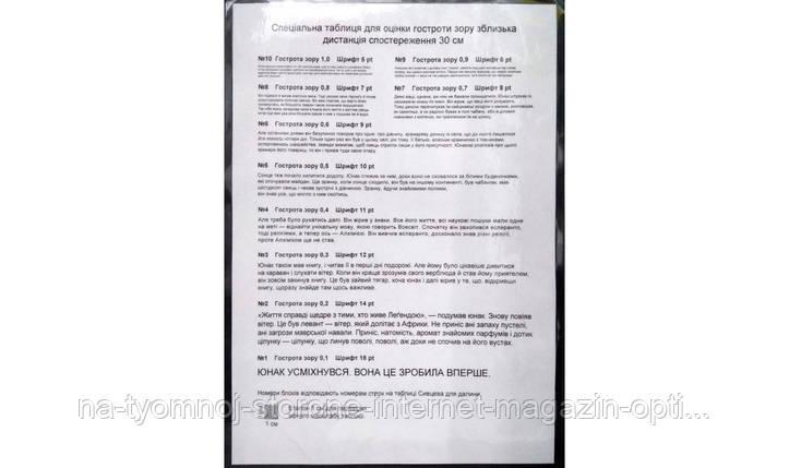Таблица для оценки остроты зрения вблизи (украинский язык), фото 2
