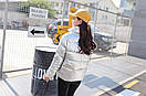 Модная демисезонная блестящая женская куртка, модель оверсайз, цвет серебро, фото 3