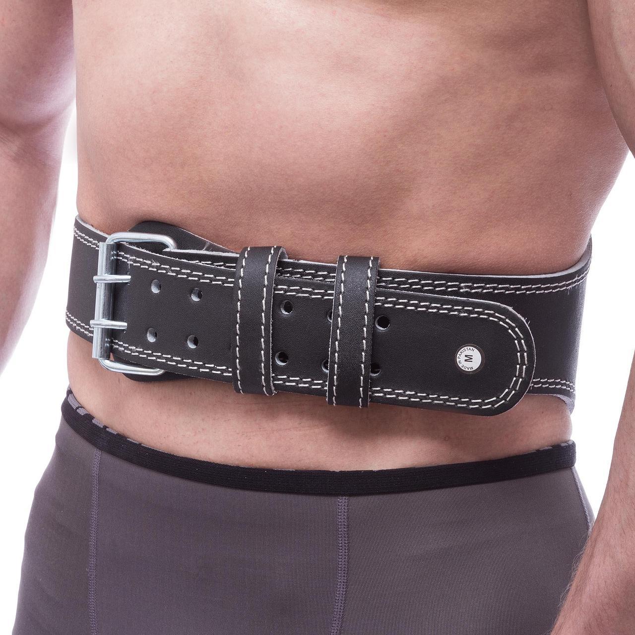 Пояс атлетический кожаный FAIRTEX 161078 (ширина-6in (15см), р-р S-XL, с подкладкой для спины, черный)